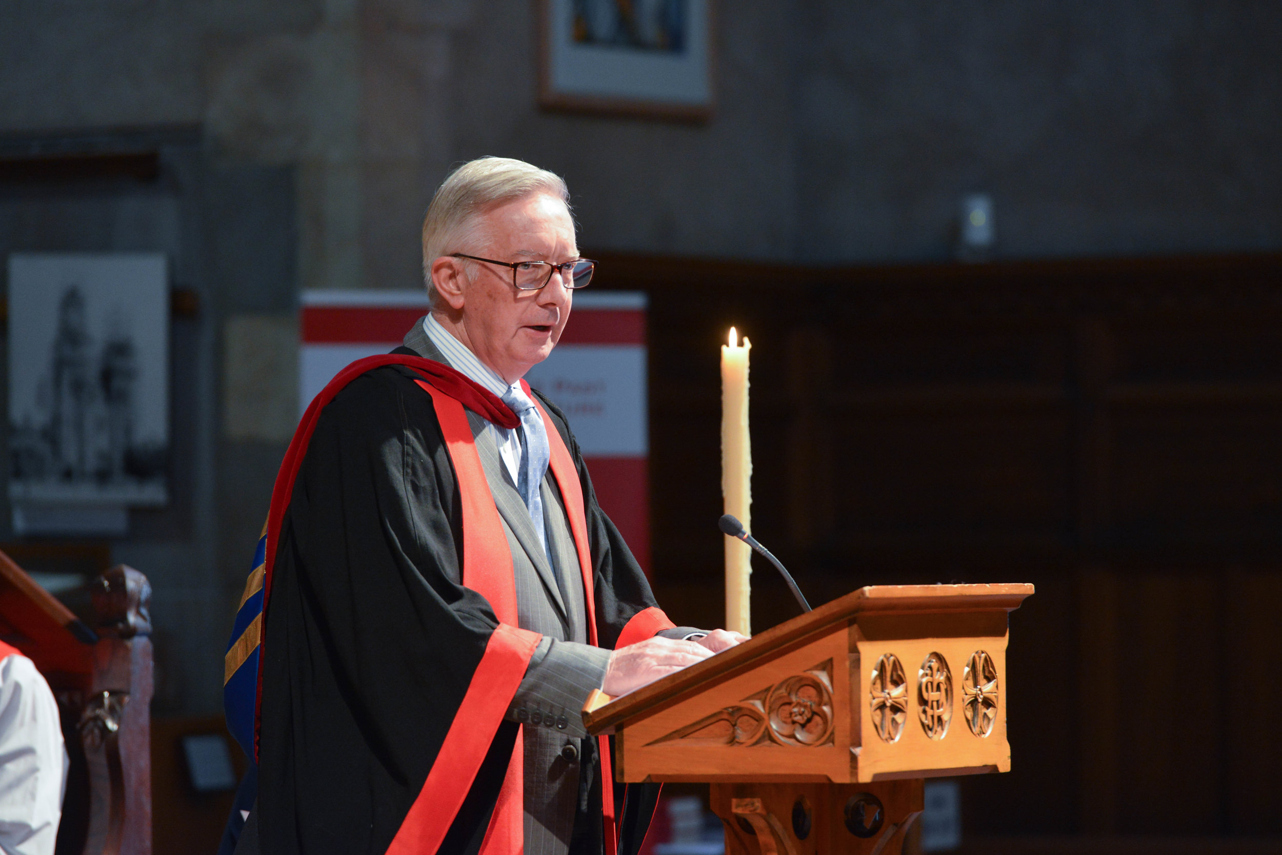 St Barnabas College Principal, The Rev'd Dr Don Owers addresses the gathering