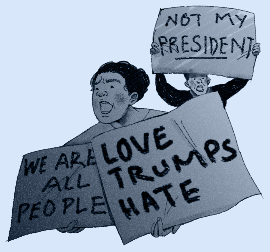 Trump protesters. Illustration based off of a photograph by Benjamin Hager of the Las Vegas Review-Journal (here).