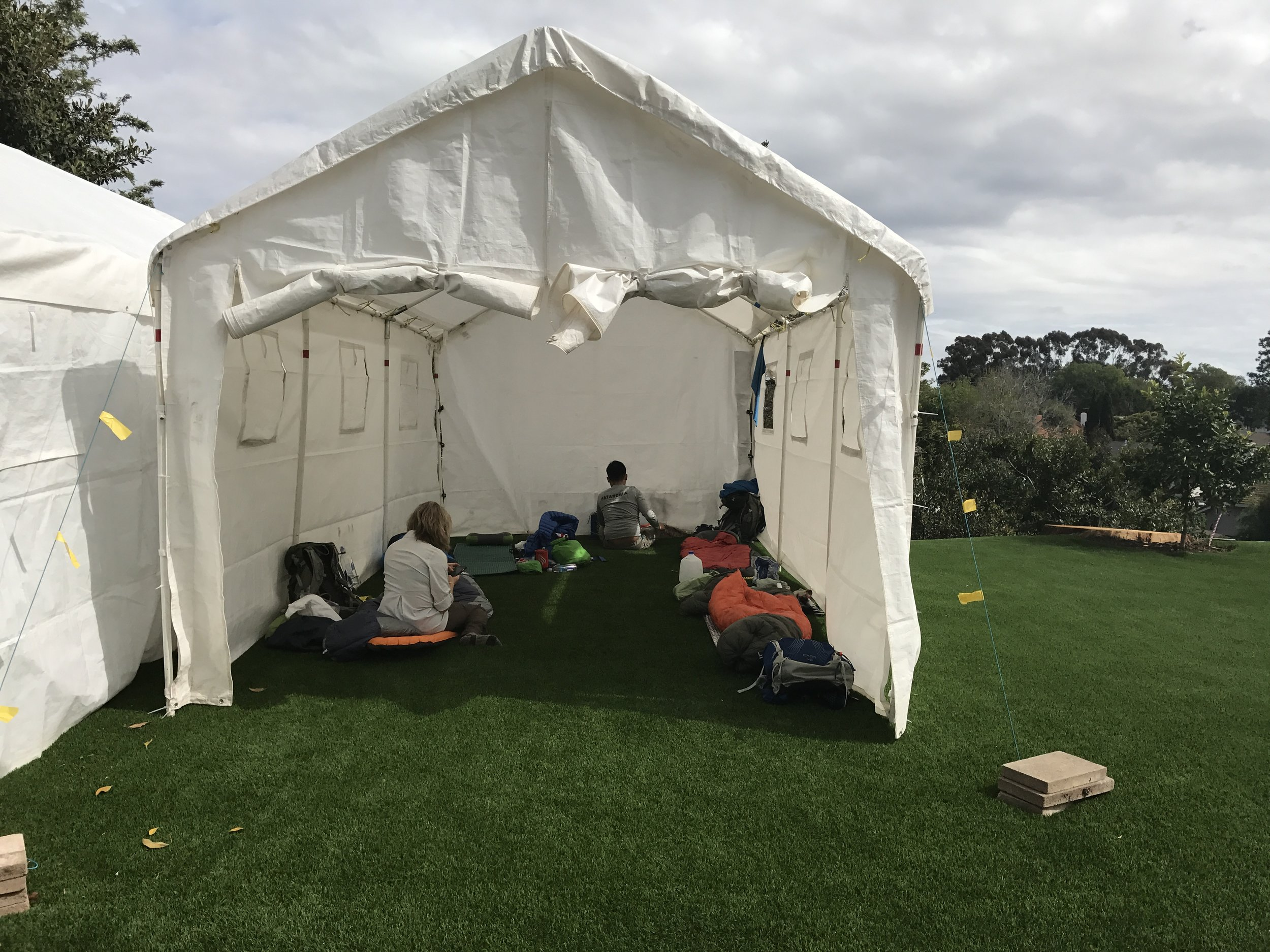 Hikers stay in giant tents at Scout and Frodo's