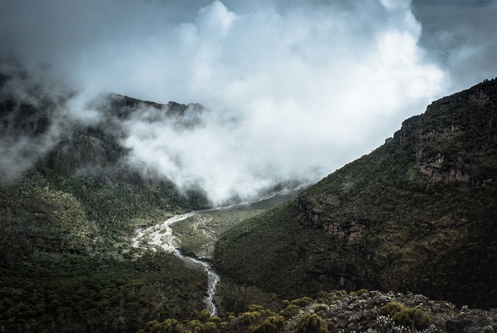 Finally at Barranco Camp, the clouds began to lift rewarding us with incredible views of the valley below the camp.