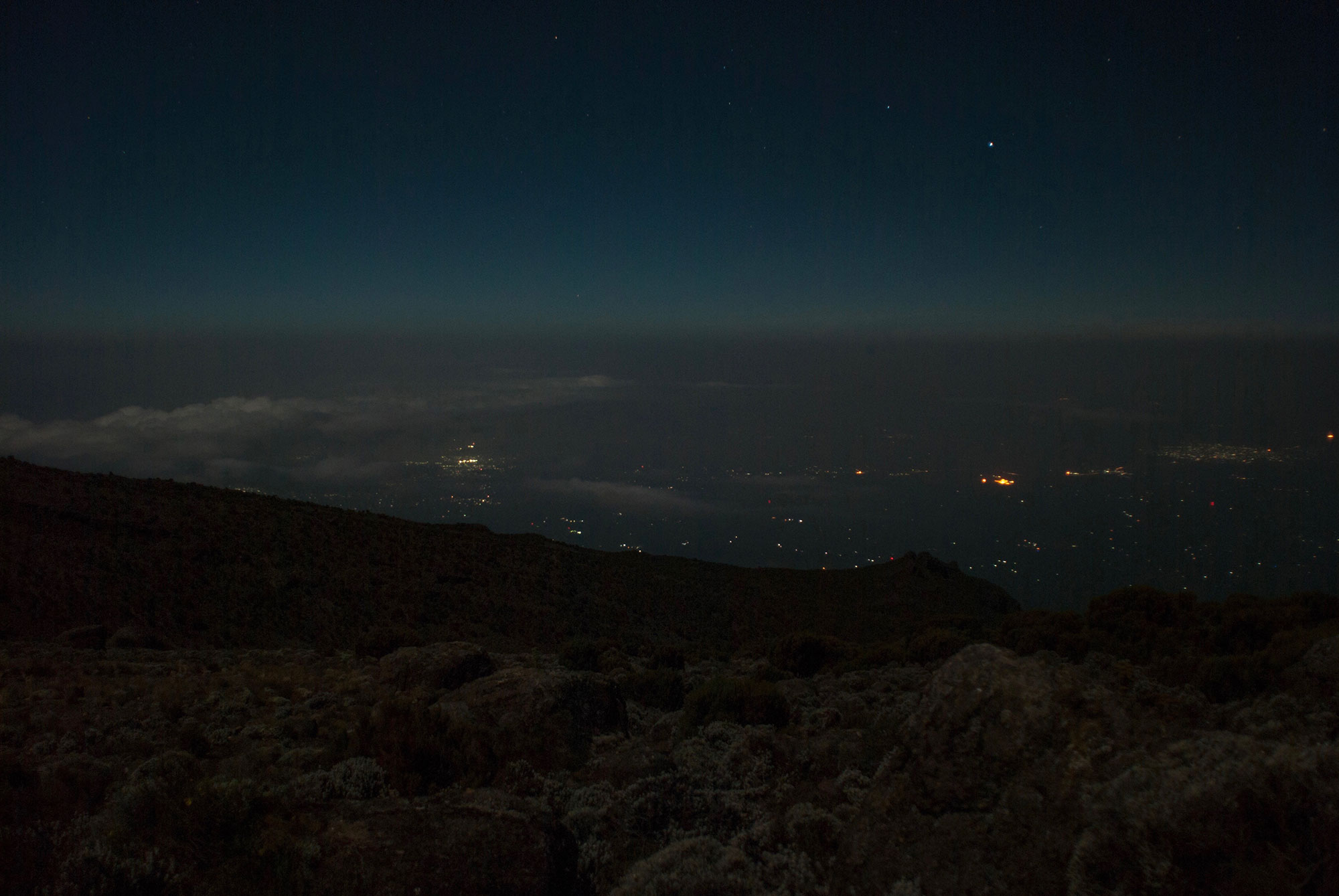 The town of Moshi a mere 10,000 feet below us could be seen from Karanga Camp.