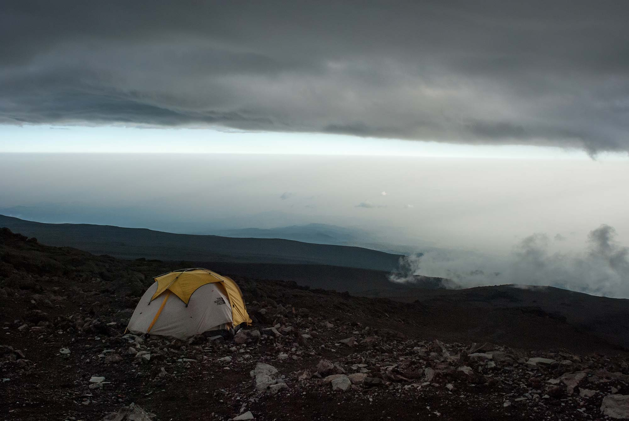 Room with a view. Three guides pitched their tent on some sweet realestate on the Eastern slope of Barufu Camp.