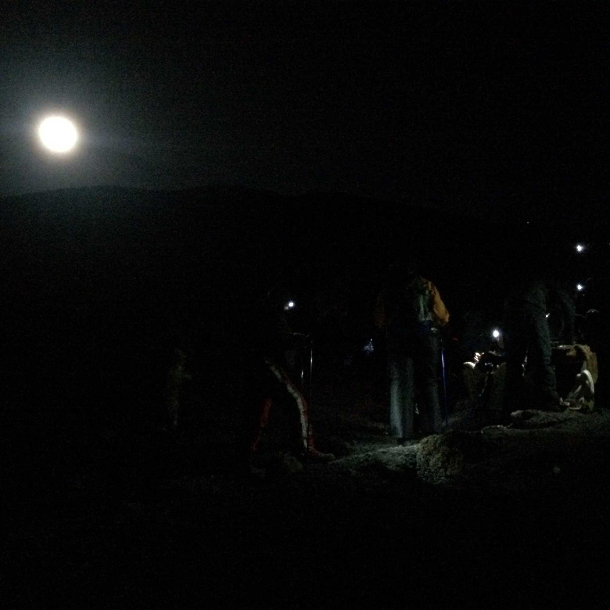 Kilimanjaro climbers taking a tea break in the dark on the summit push.