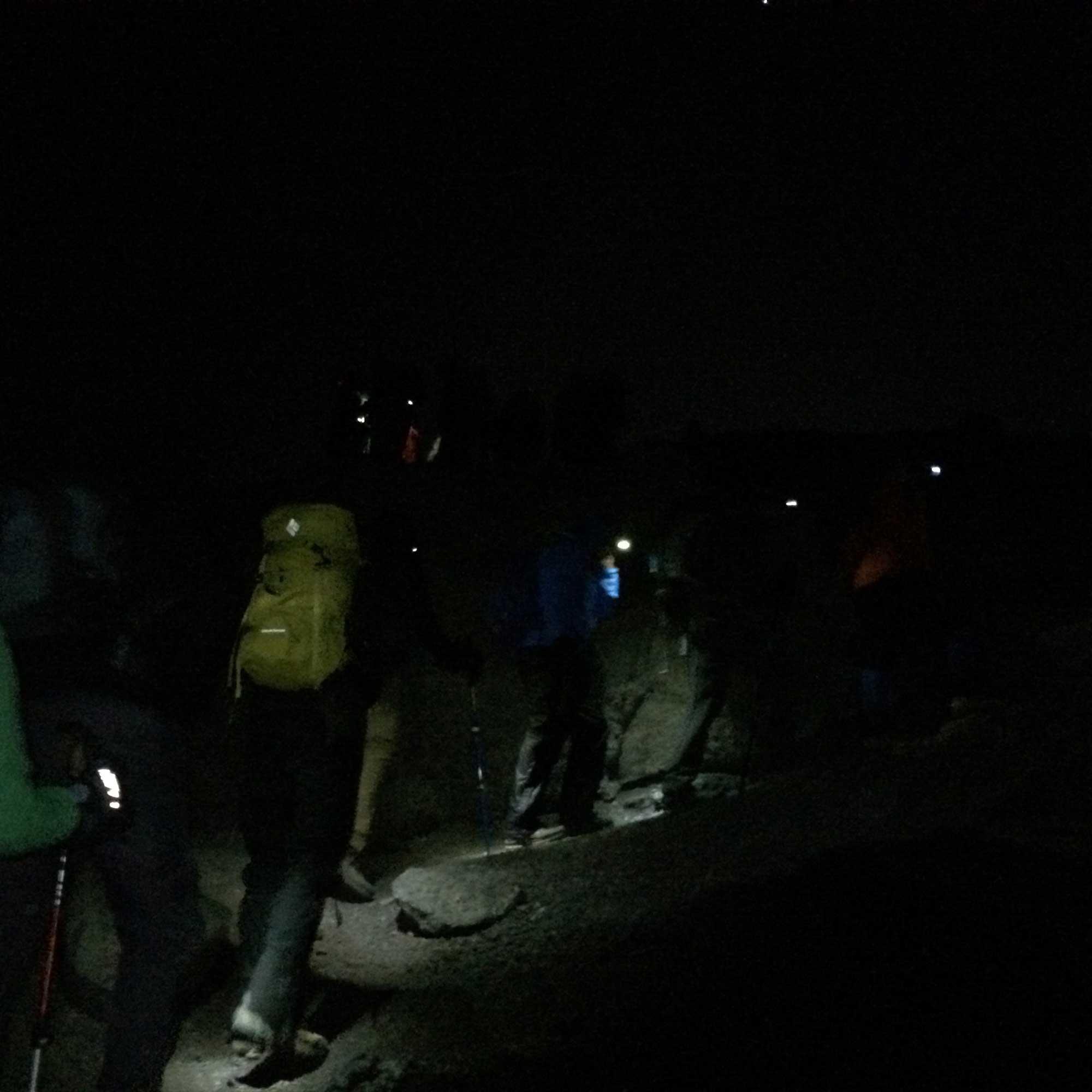 Kilimanjaro climbers beginning summit push at night