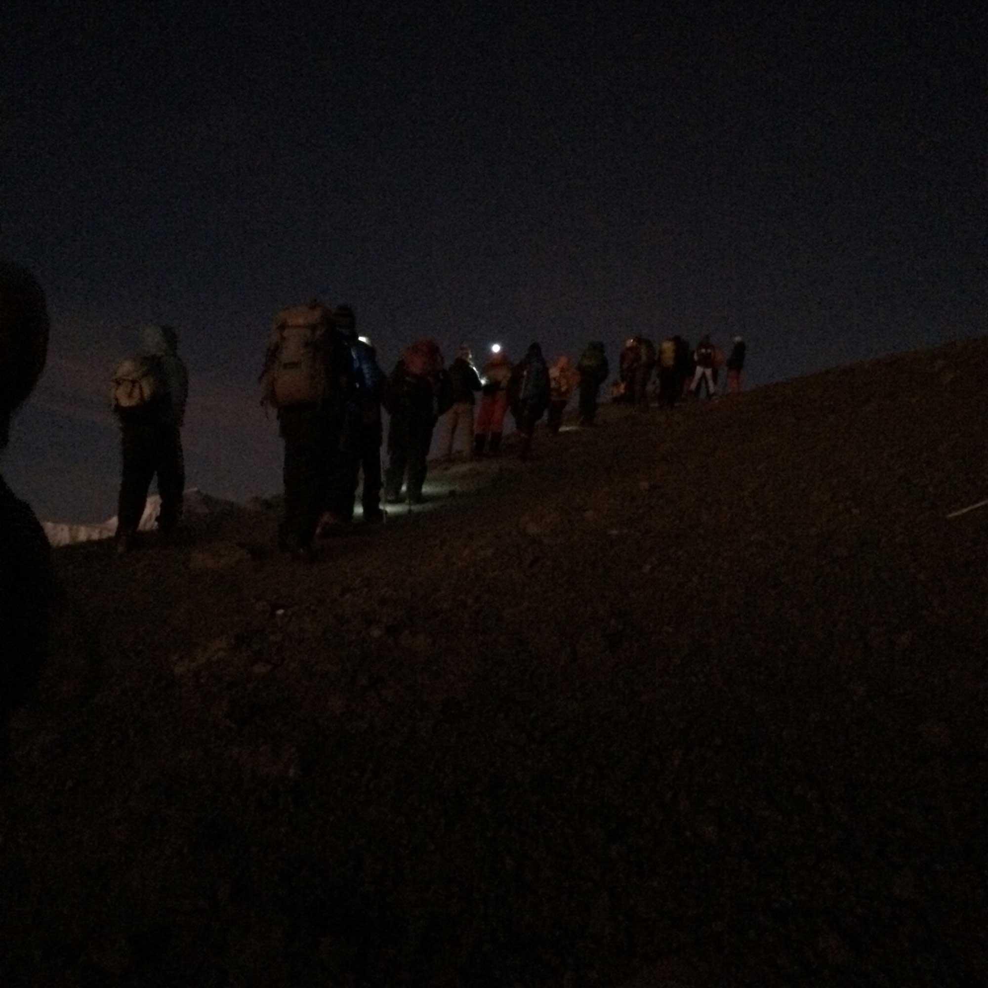 Kilimanjaro climbers making summit attempt in dark.