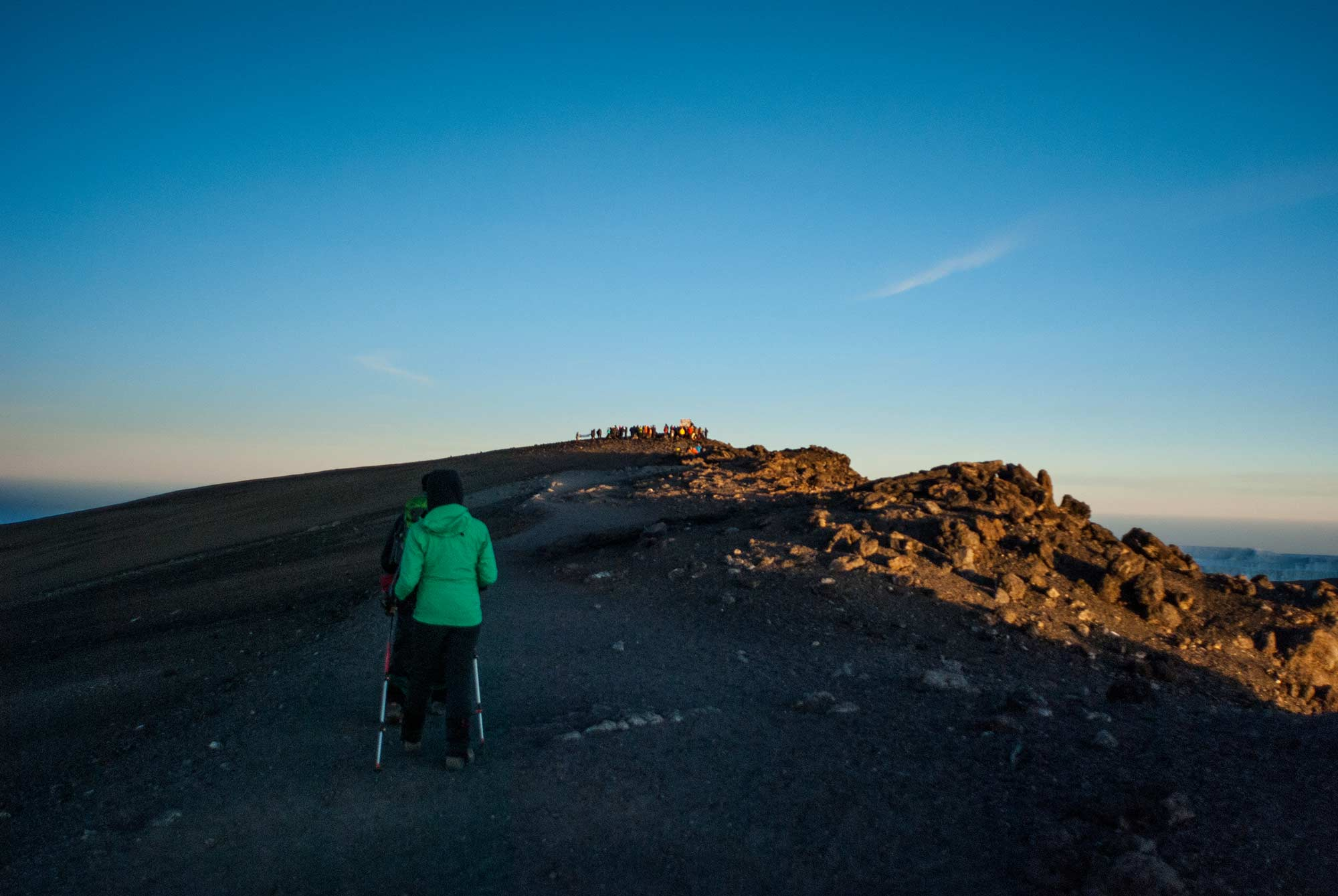 The summit of Kilimanjaro comes into view.
