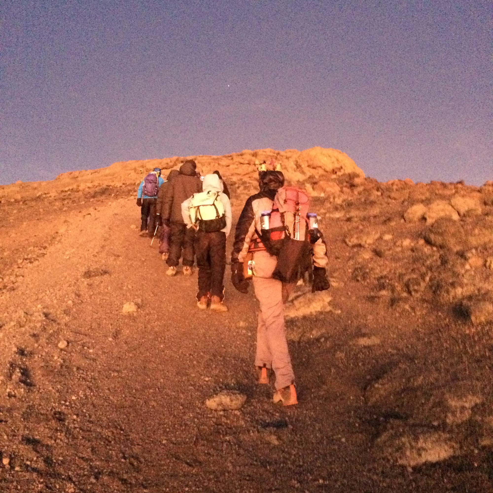 The sun bring welcome warmth to Kilimanjaro's icy-cold summit.