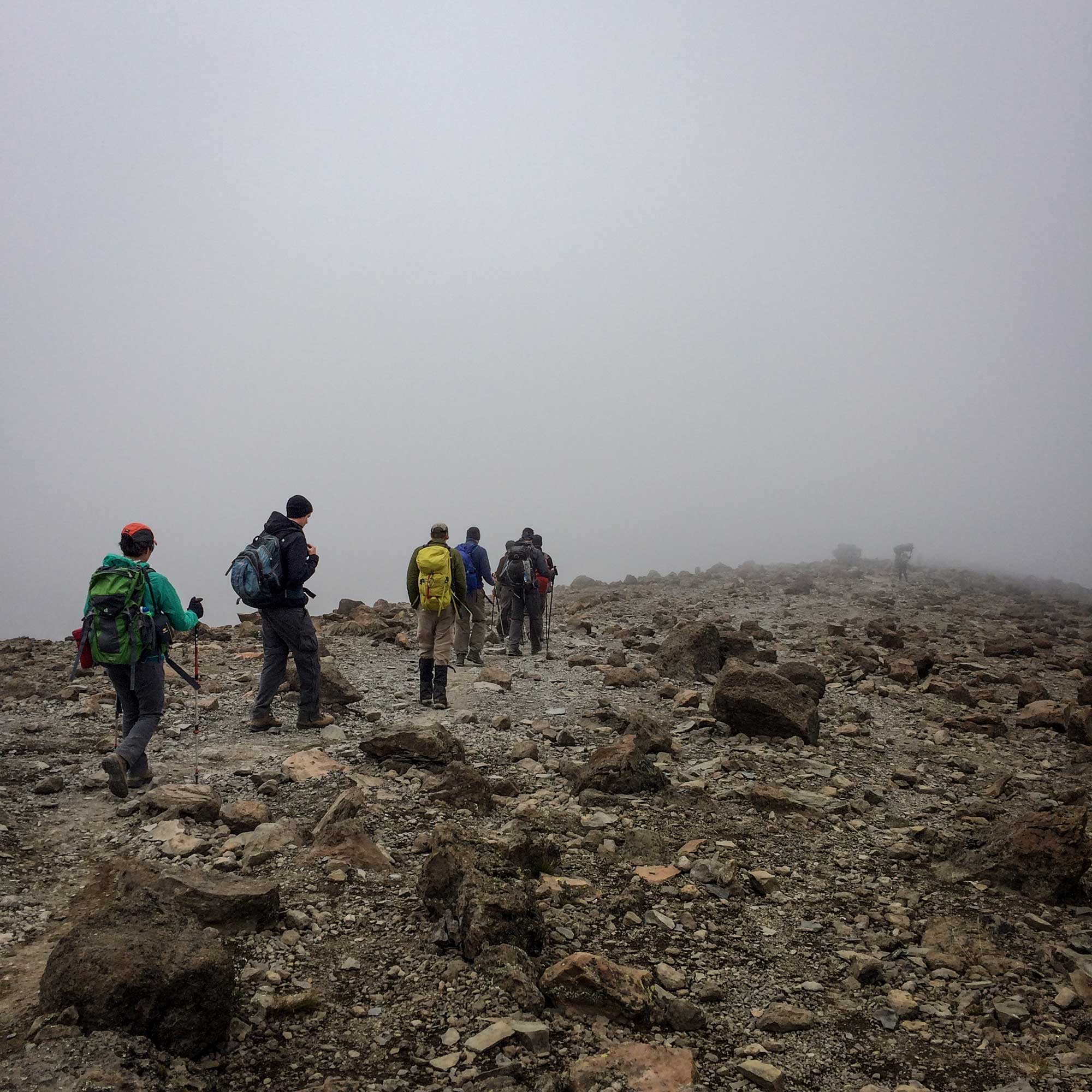 Summit day was the only big mileage day. After climbing to the Summit at 19,000+ feet, we descended through the fog to 10,000 feet later that same day.