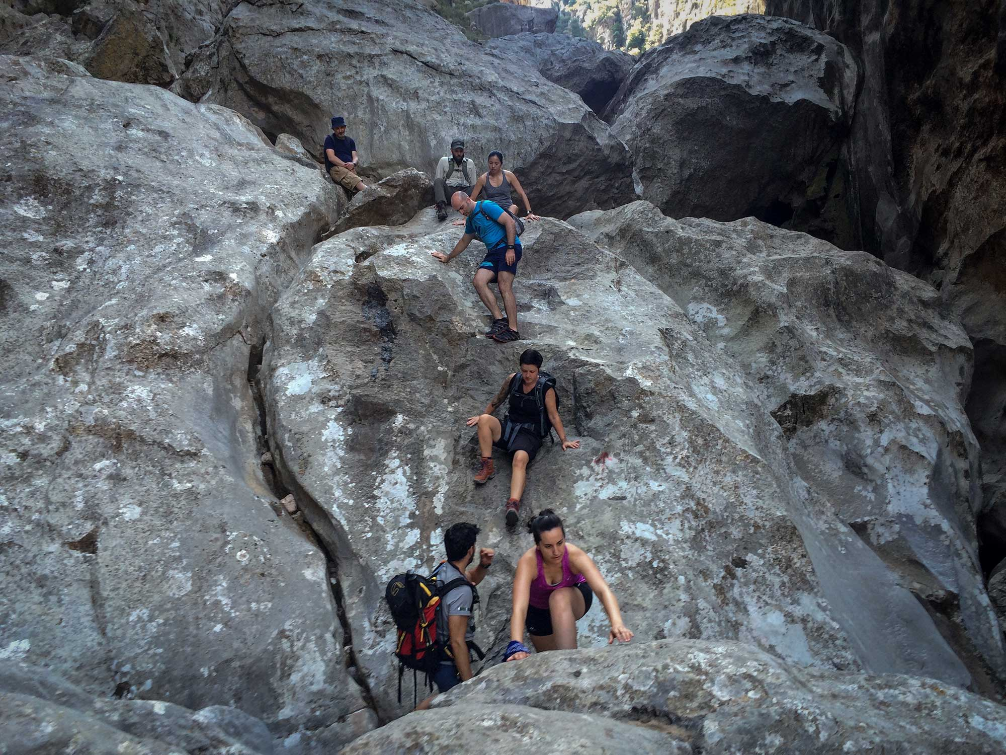 Shortly after reaching the canyon floor, we encountered sections that required some light scrambling.