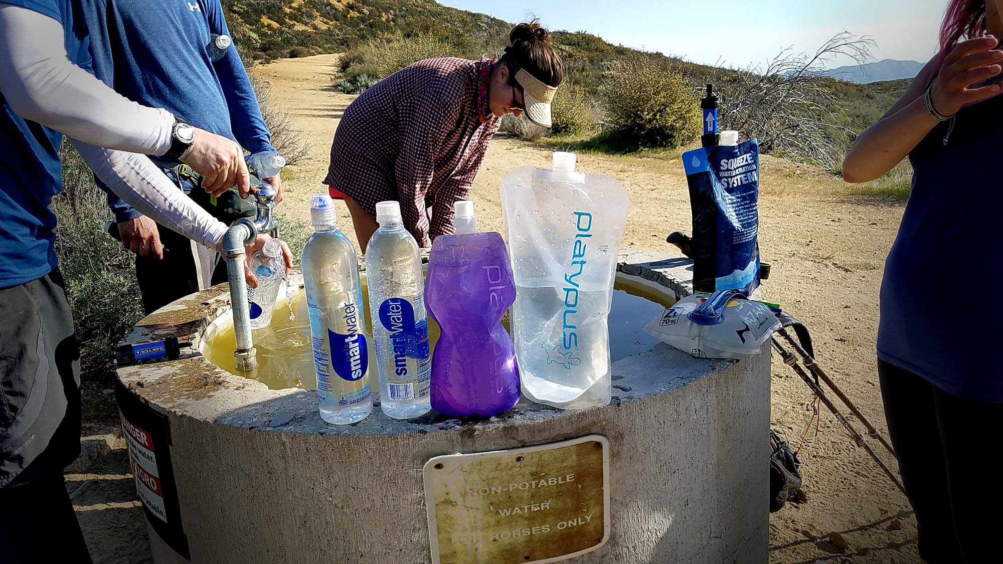 Hikers gathering water on the PCT. Photo by:Malin Klingsell