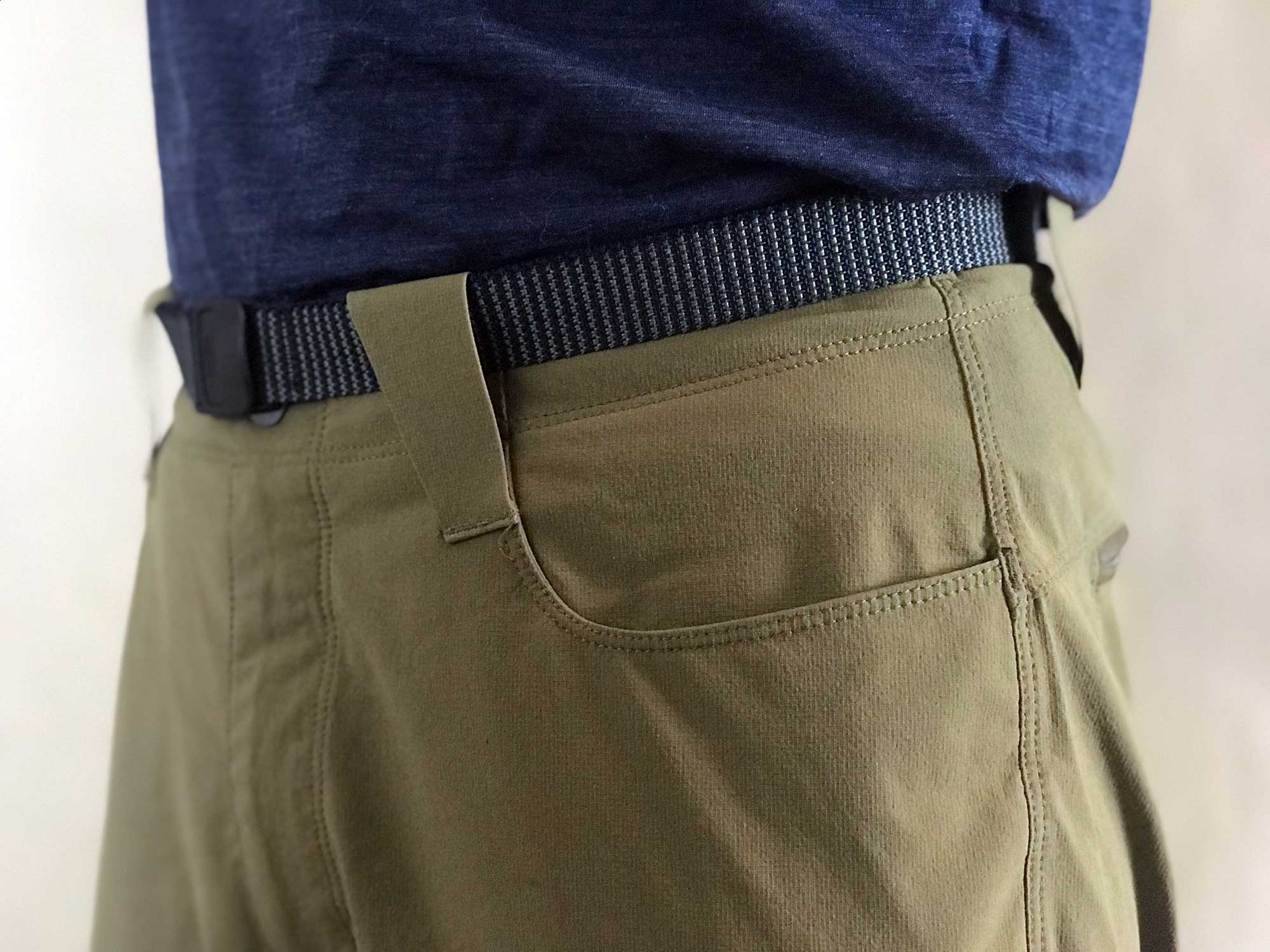 Front stash pockets are effective when hiking, but in certain seated positions, items can easily slide out due to the slick interior lining.