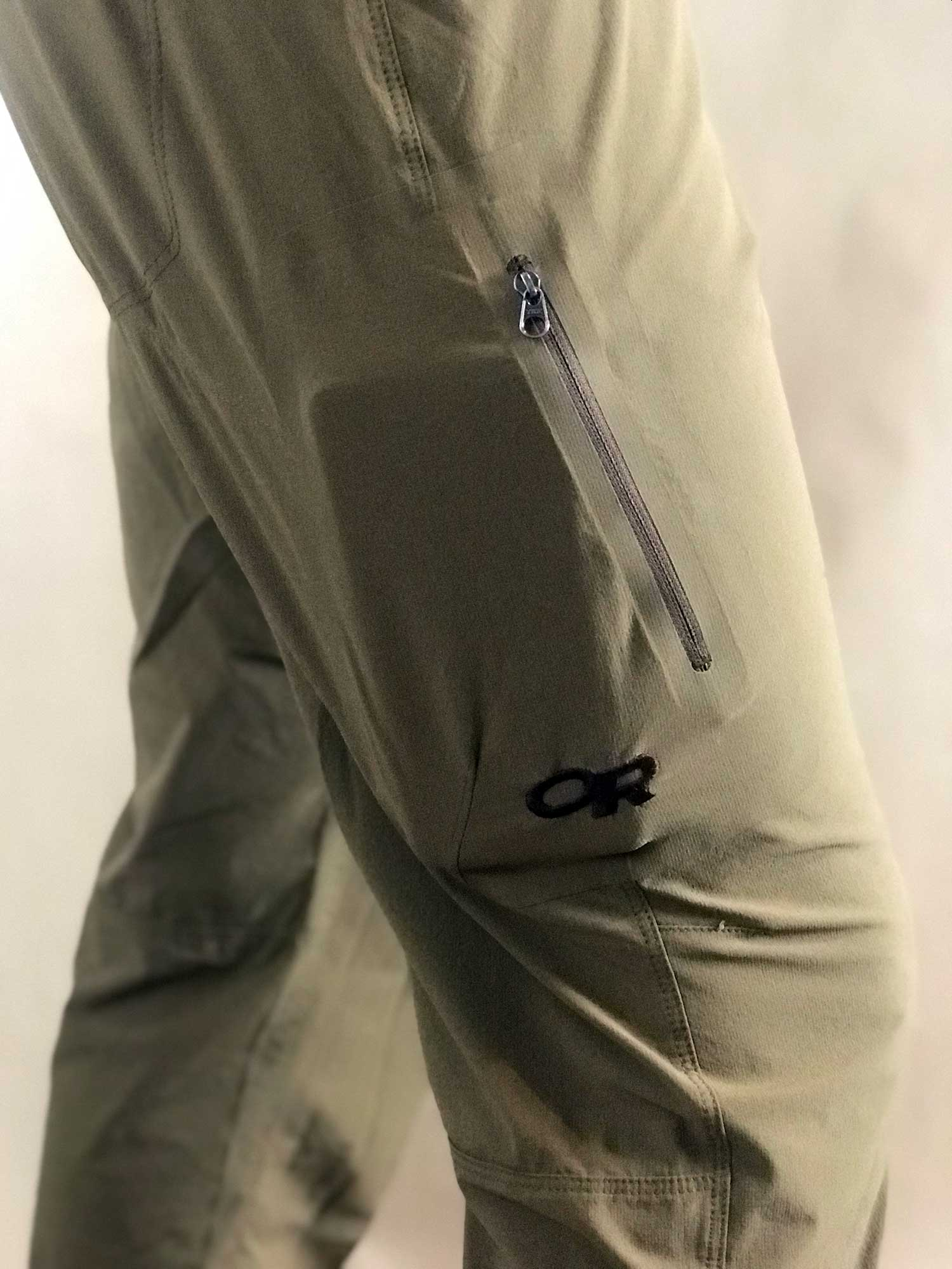 Vertical zippered thigh pocket. The low profile means items don't flop around.