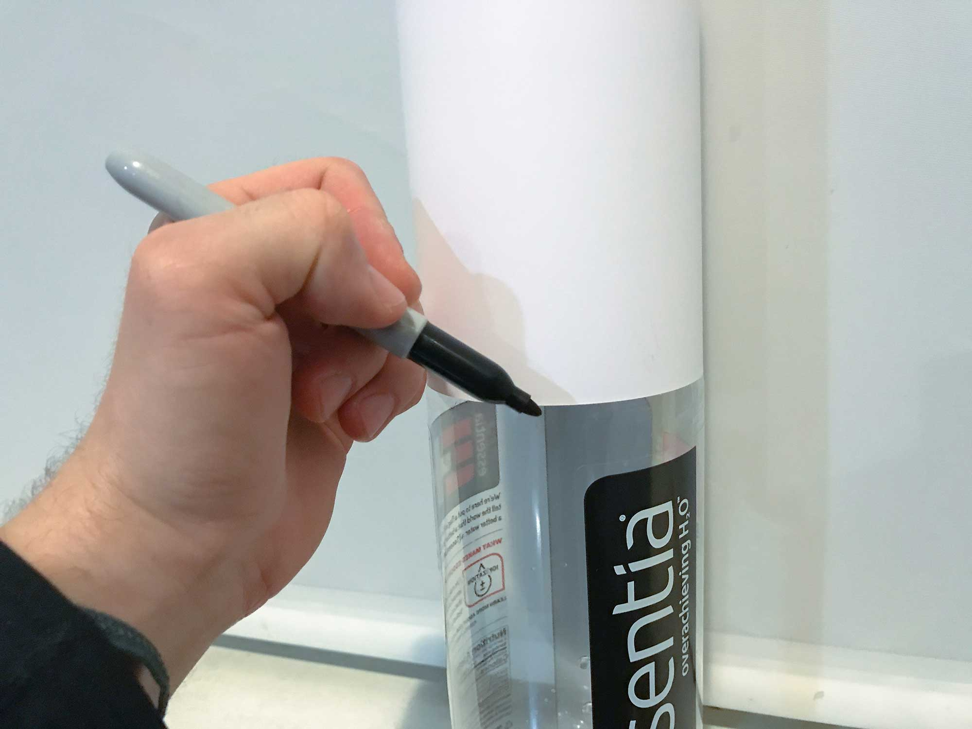 Trace the template with a sharpie to mark where to cut.