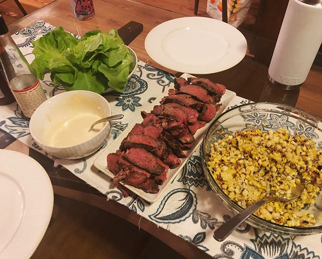 Strip Steak Lettuce Wraps~~~~~~ Grilled corn, nuoc cham mayo, butter lettuce. Seasoned with sriracha and fish sauce, even better. #homecooking
