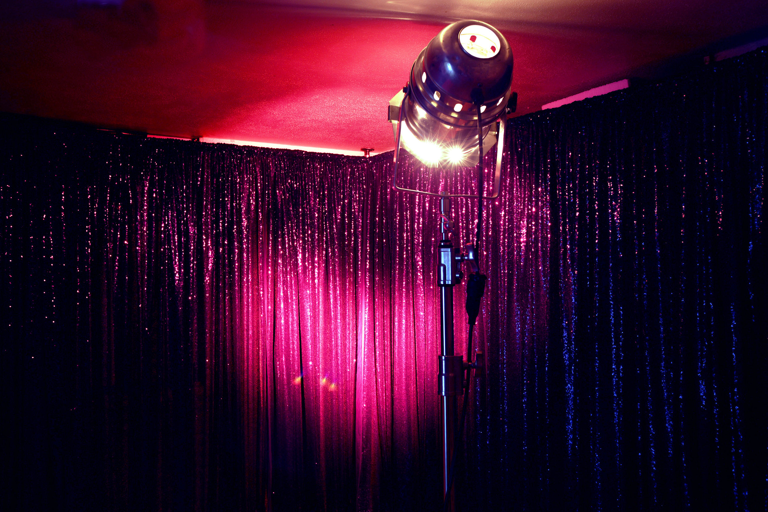 FOR ALL THE WRONG REASONS  sequin curtains, stage light, sound dimensions variable 2018