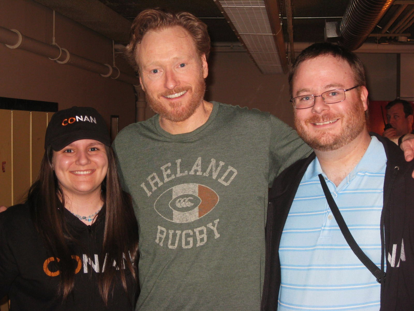 Meeting Conan O'Brian on the eve of my birthday: April 14, 2010.    Left to right: Jessie Smith, Conan O'Brian and Steven Lee.