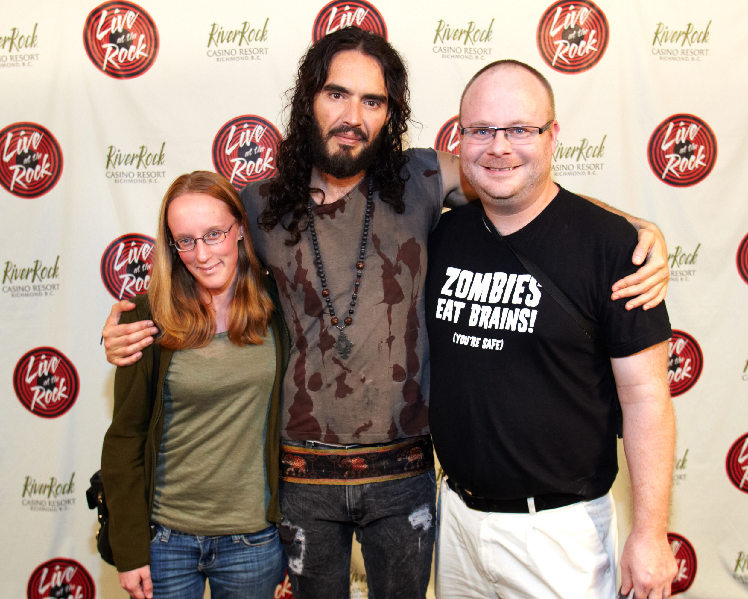 Meeting Russell Brand on September 29, 2012.    Left to right: Shannon Cawley, Russell Brand and Steven Lee.