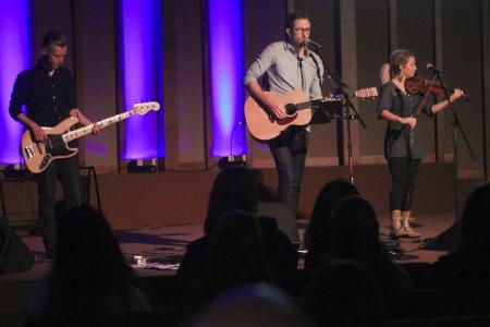 Nate leading worship at Kentucky Christian University.