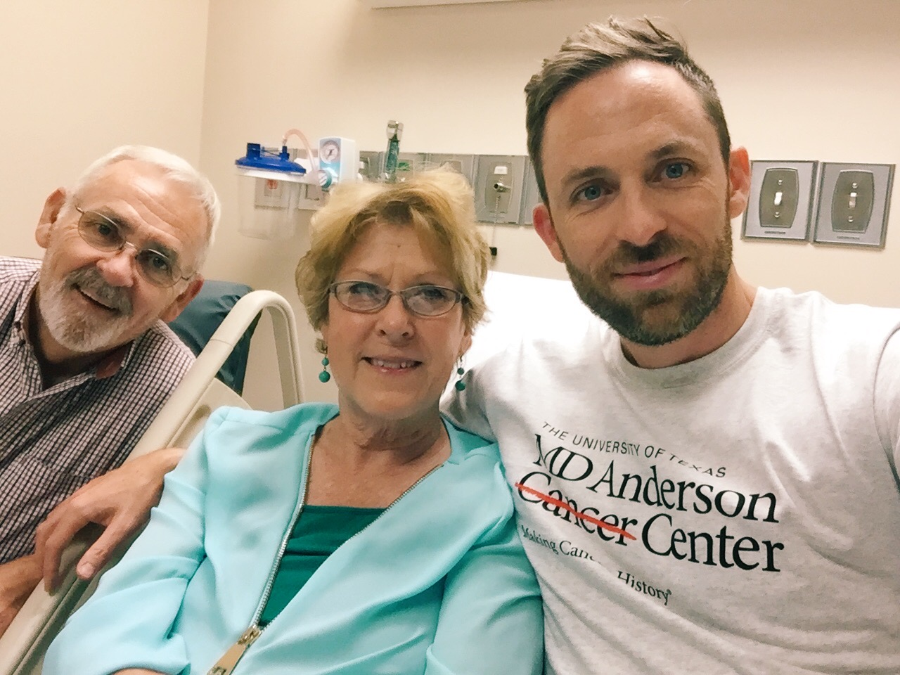 Nate and his amazing parents during Elaine's cancer treatment in Houston last month.