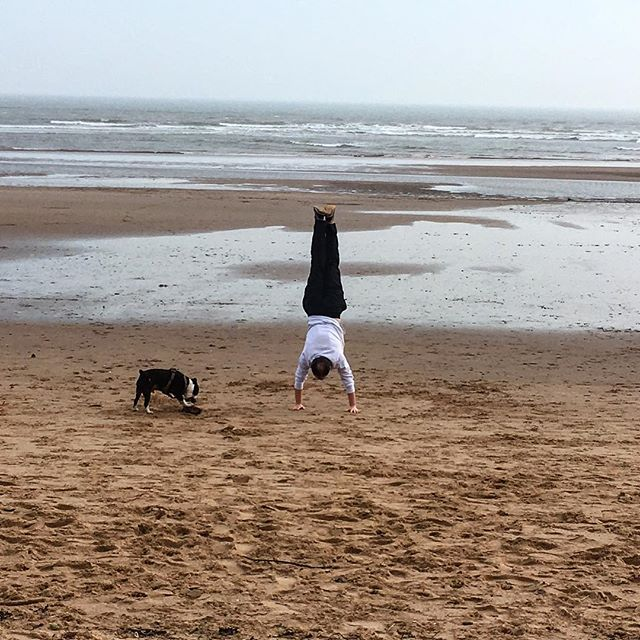 #crossfitobsessed #handstandsonthebeach #youraveragesaturday #husbandanddog❤️