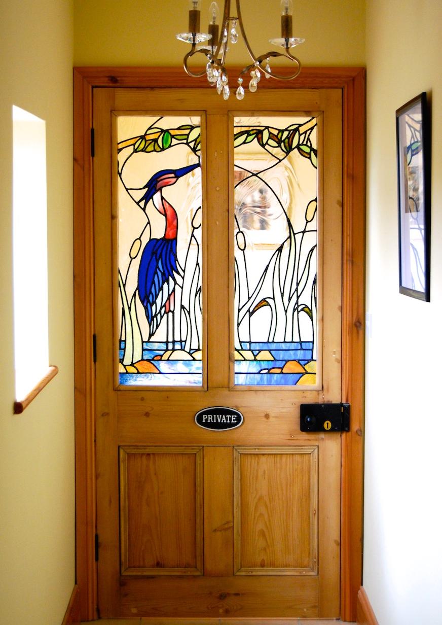 Heron Stained Glass Door