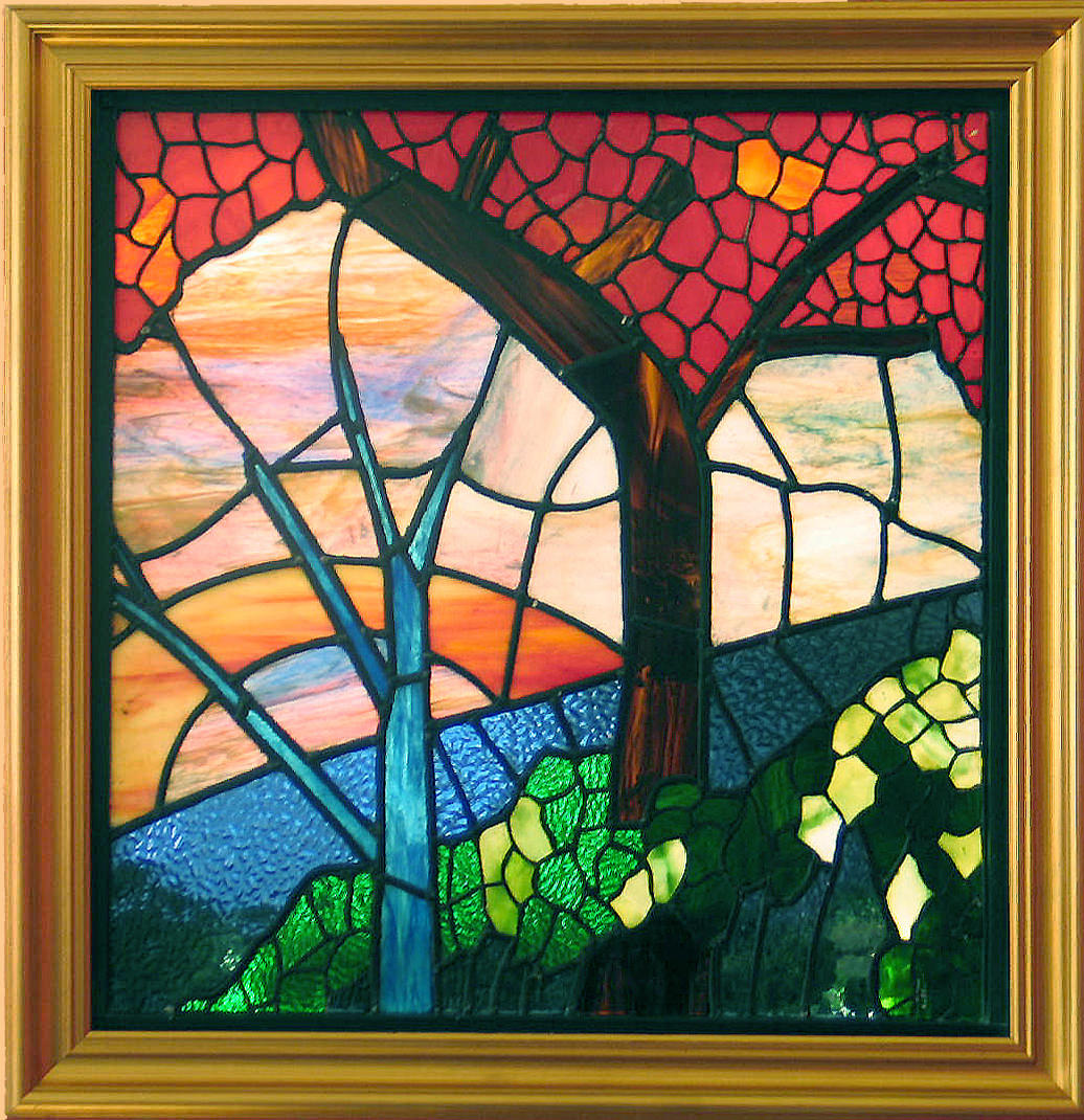 Autumn  Stained Glass Leaded Picture 60cm x 60cm