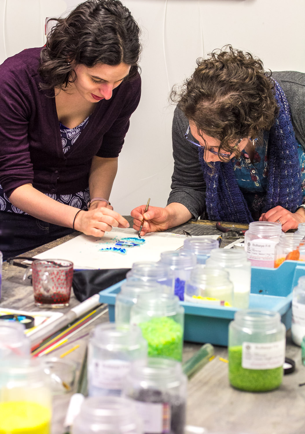Participants on a personalised Fused Glass workshop with Helen Grierson Glass Artist
