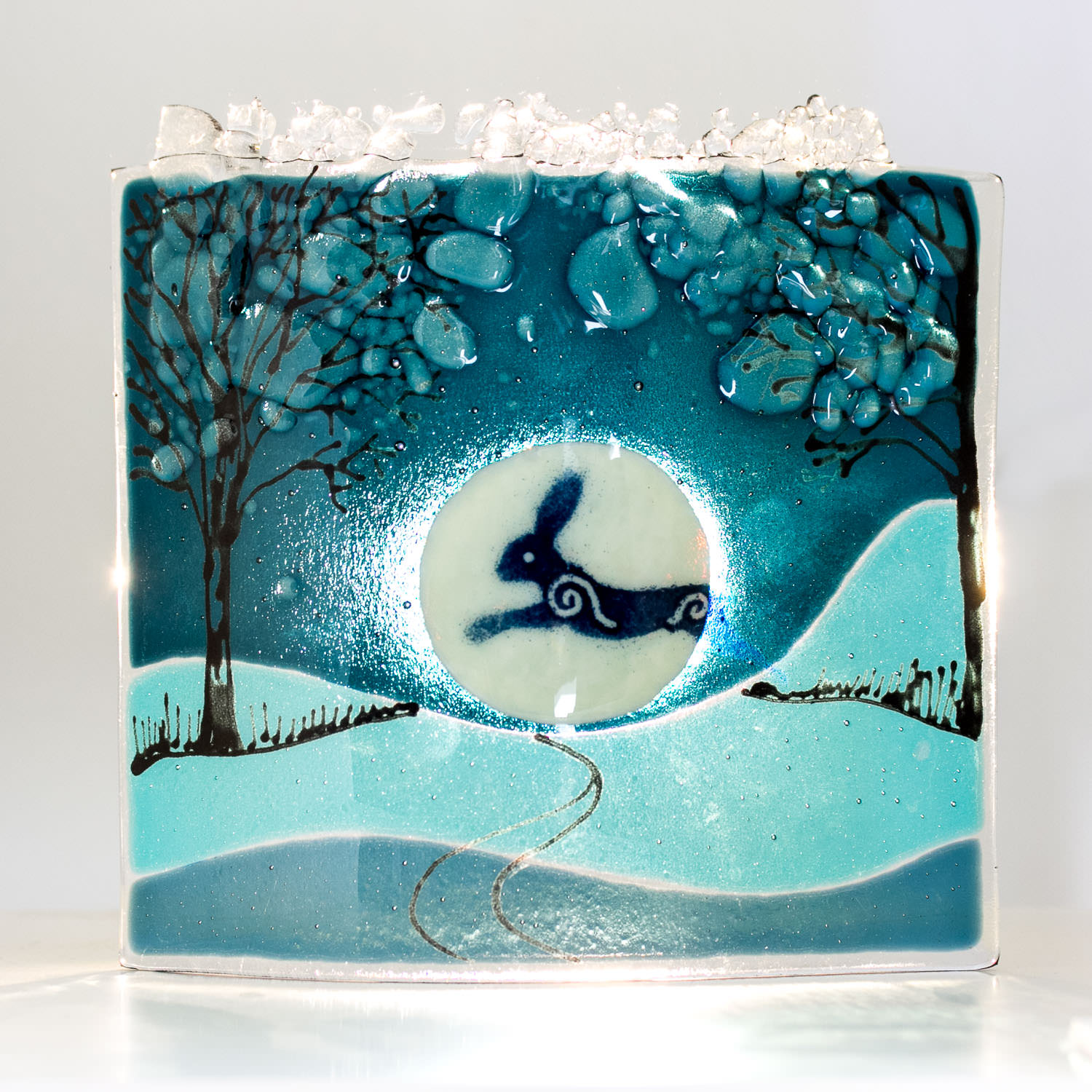 Hare - Fused Glass Art by Helen Grierson