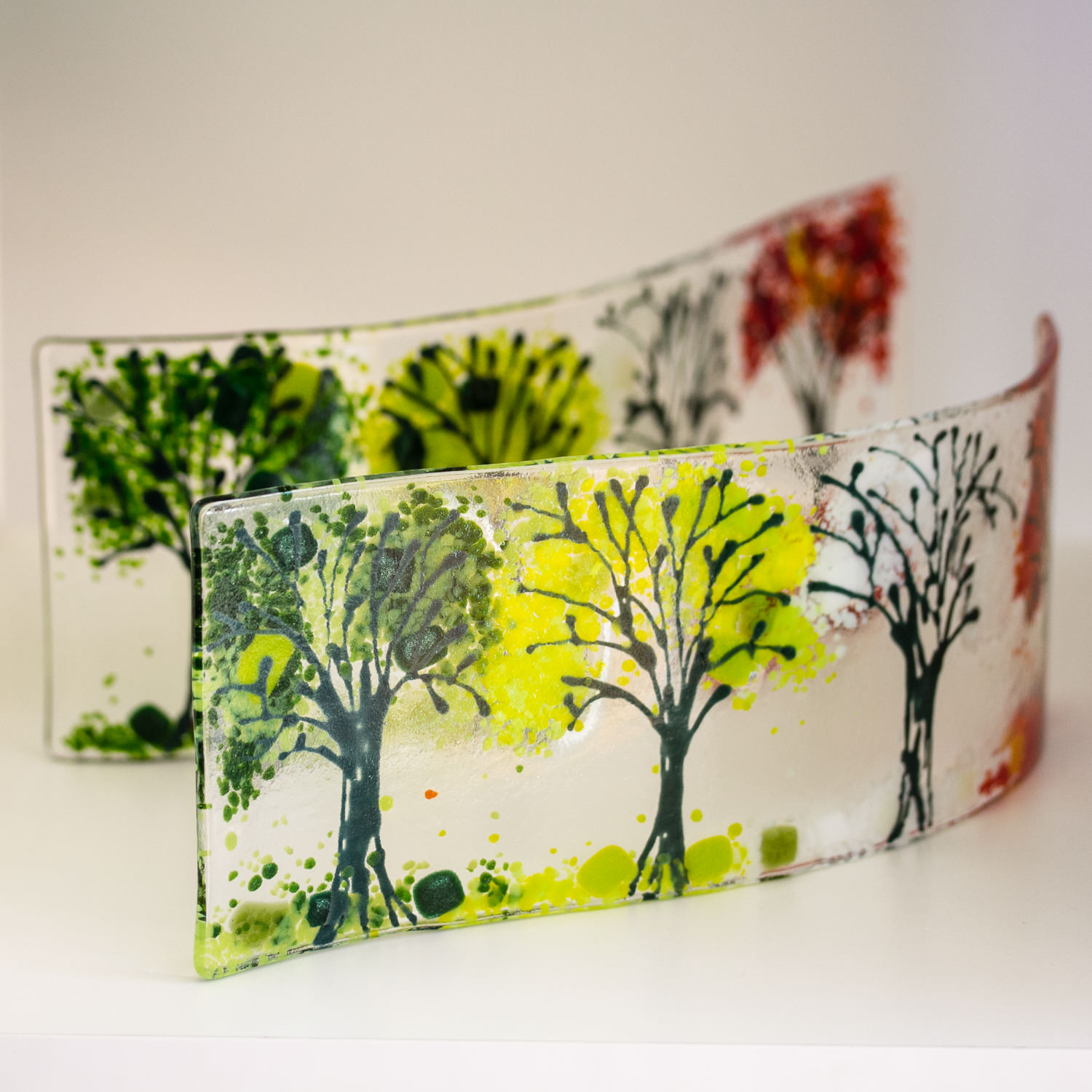 Seasons Waved Glass  - Fused Glass Art by Helen Grierson