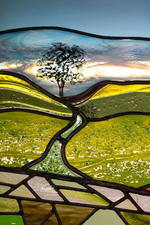 Beautiful Landscape Leaded Glass Art Commission by Helen Grierson