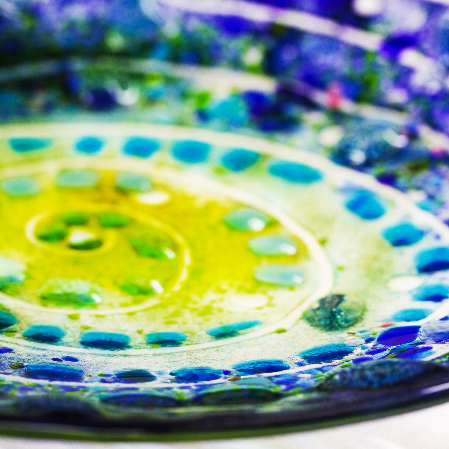 Beautiful Blue Fused Glass Art by Helen Grierson