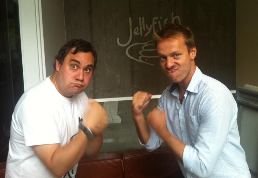 Getting warmed up for a story meeting! Me with director, Boris Hiestand, at Jellyfish Animation Studios in London.