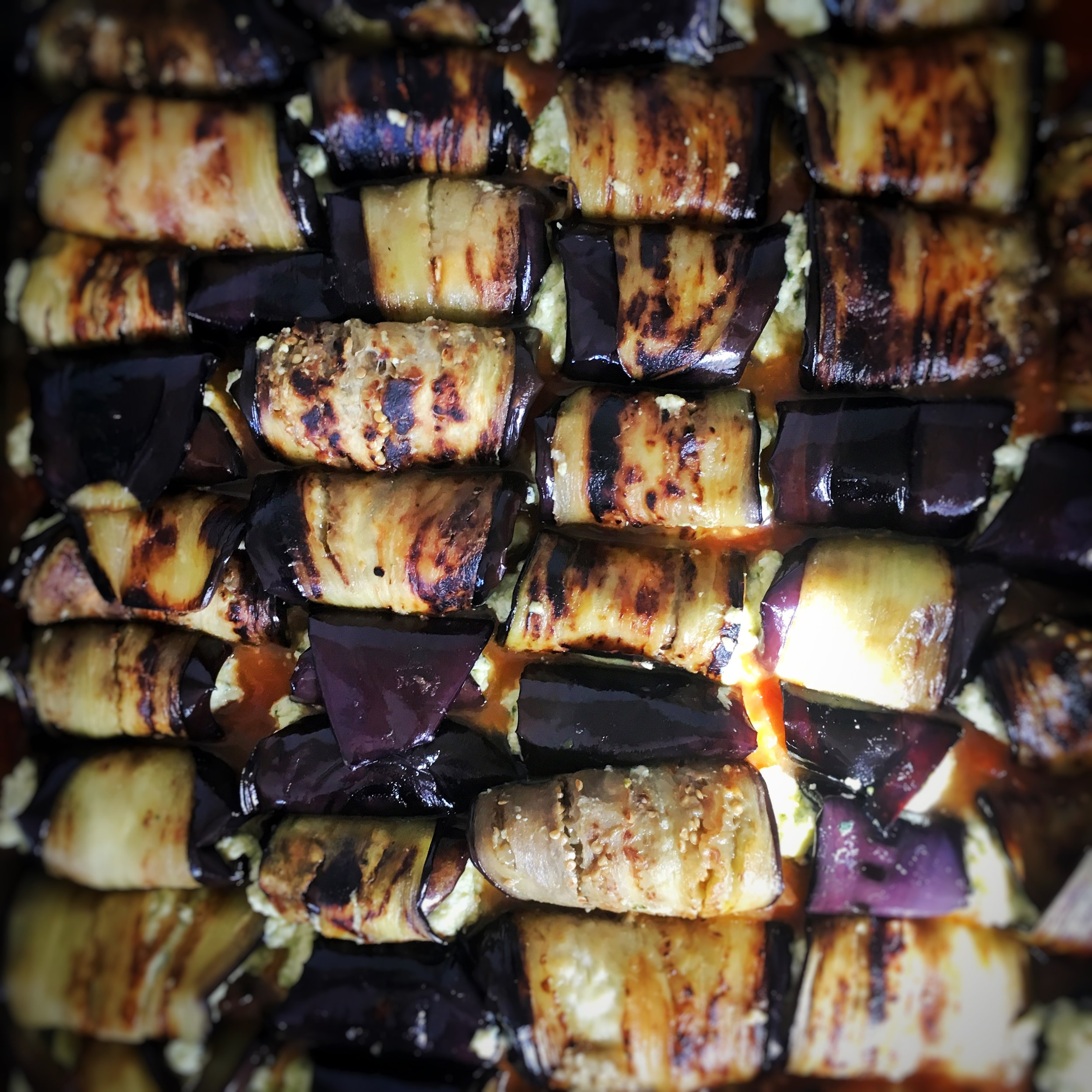 Rolled pesto ricotta in aubergines.....