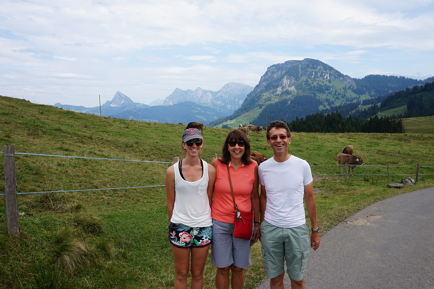 My mother, Daniel, and I listening to cow bells in the alps.