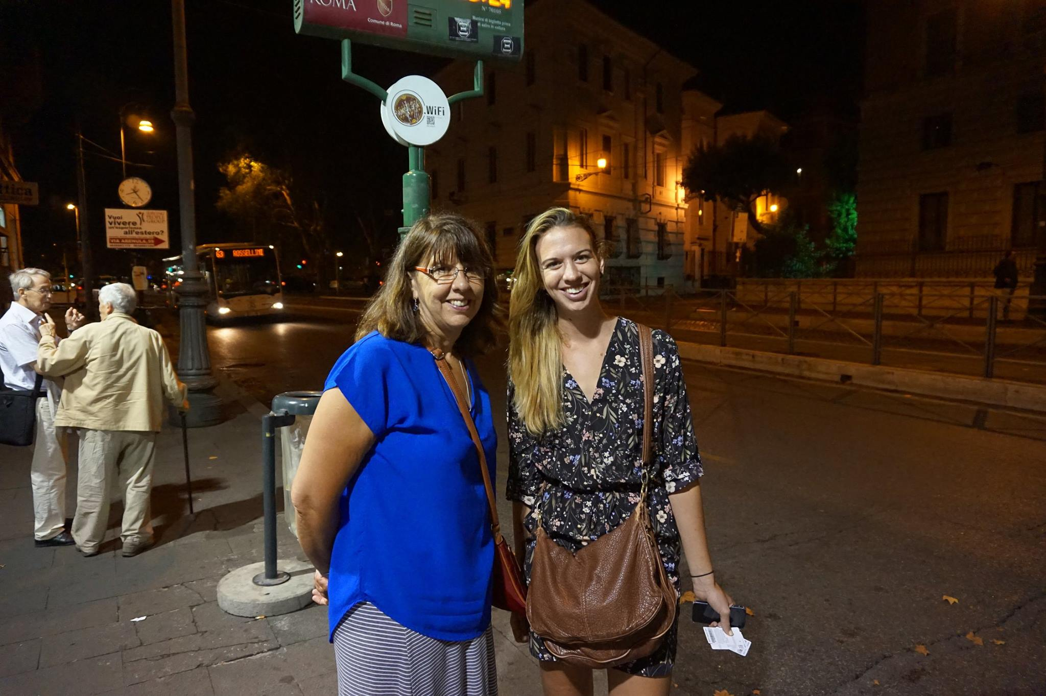 Waiting for the bus on our last evening in Rome. Though my mom has the best internal map around, I was in charge of navigating the transit system.