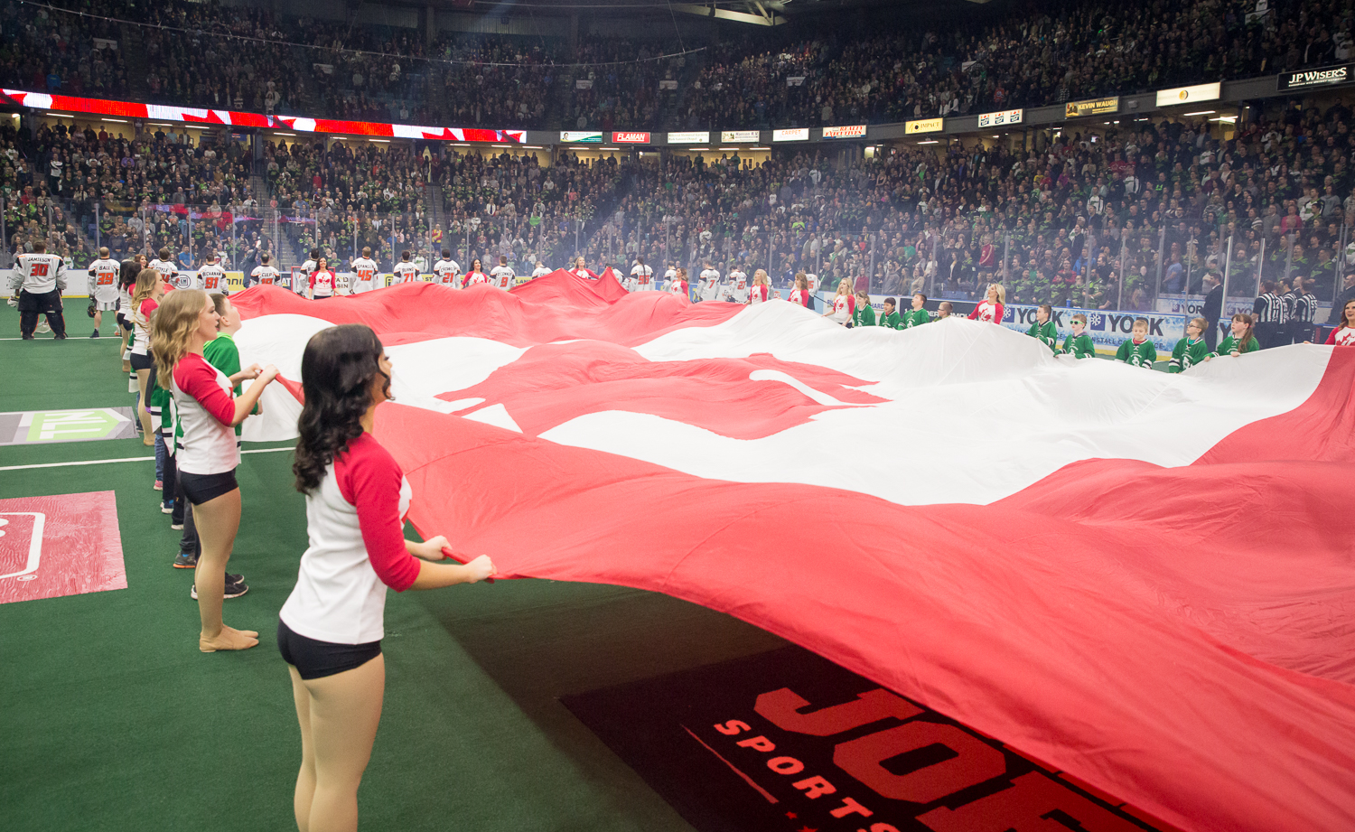 The Sask Crush Dancers also had special edition shirts and  DJ Anchor  had Canadian artists blasting through the stadium all night long. The crowd took over the Canadian National Anthem with great pride as the mic was raised to the stands after the first verse.