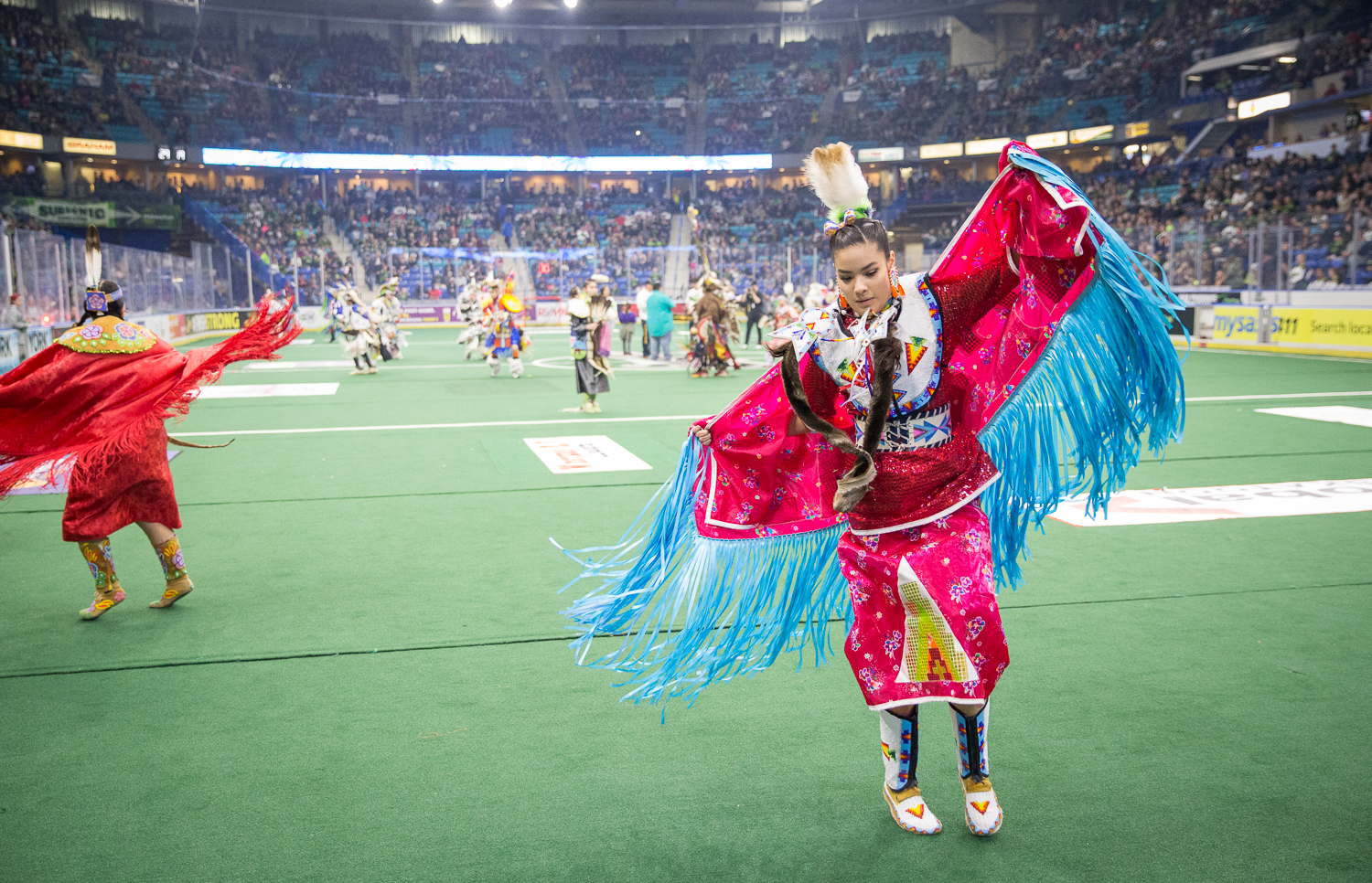 Indigenous dancers, drummers, and singers from the Saskatoon Public School Division took over the field at half time to perform and beautifully showcase another aspect of Canadian Culture.