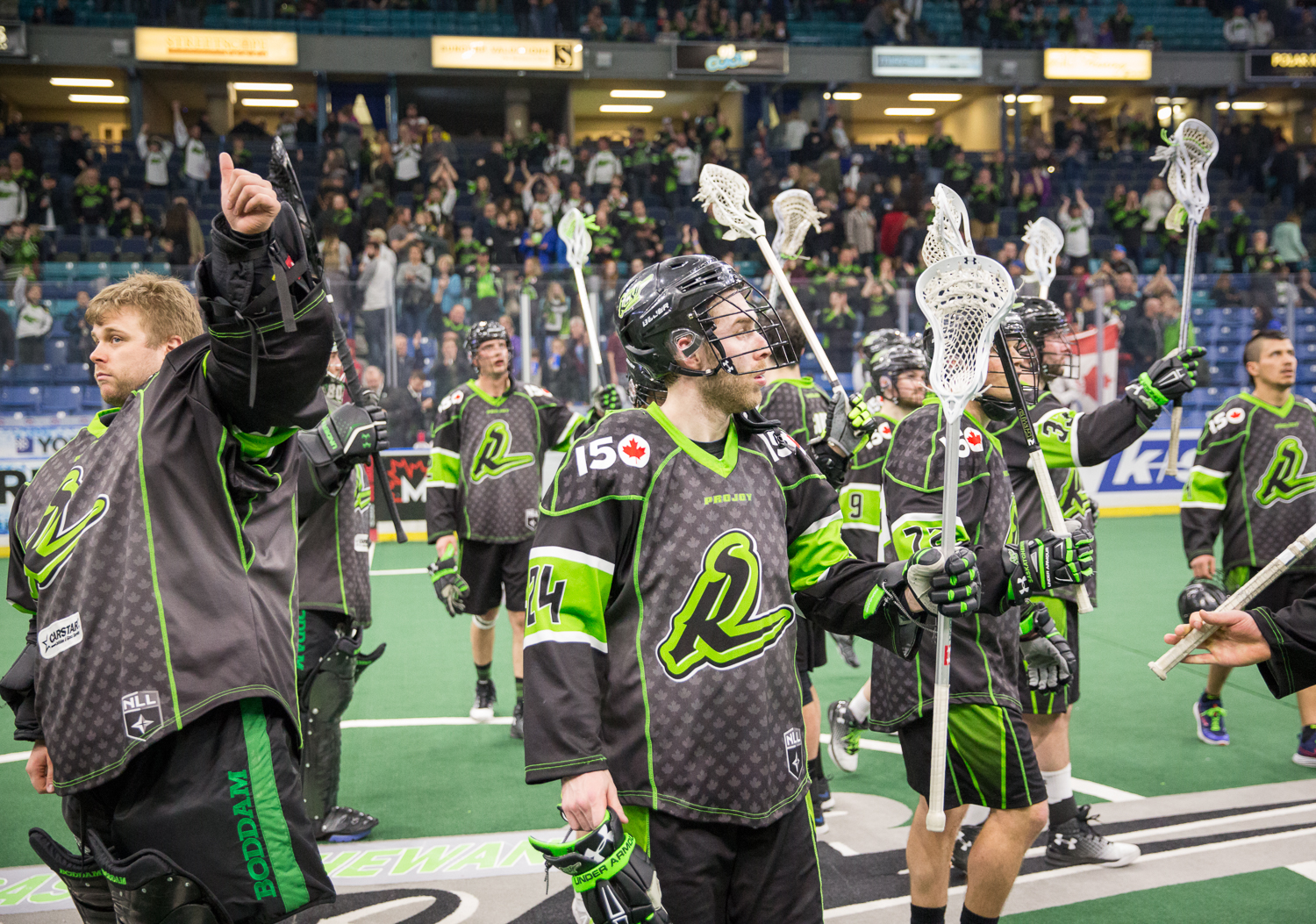 The Rush players saluted their supporters who cheered loudly for their favourite team in the NLL despite their first home loss of the season.