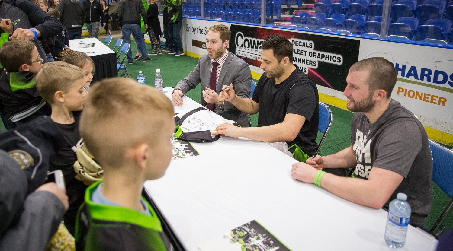 The excitement wasn't over after the final whistle, however, as young fans gathered on the field to meet some of their local lacrosse legends.