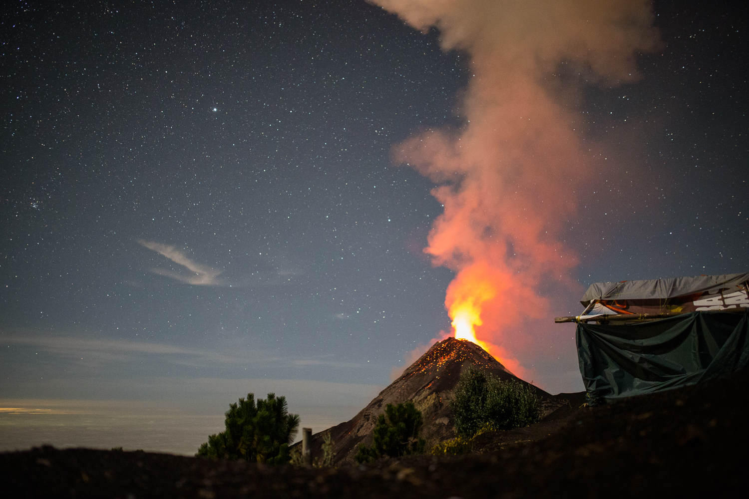 View of Fuego erupting from our basecamp on Acatenango at 4am.
