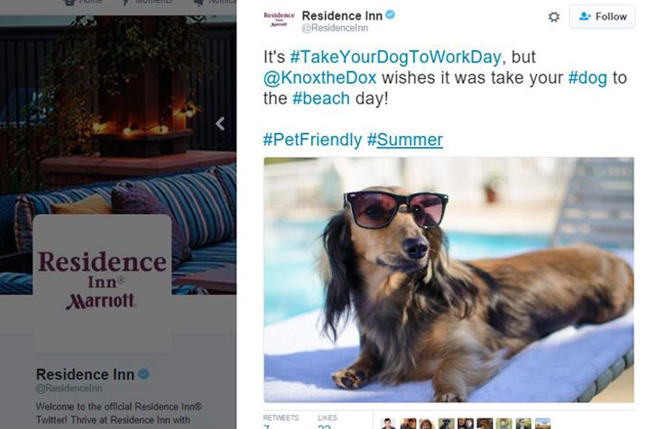 Residence Inn partners with puppy influencers to engage readers with creative content on Twitter. (Photo: Residence Inn's Twitter page)