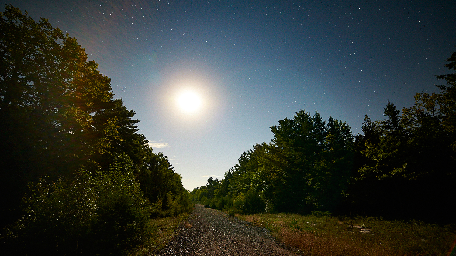 Some lens flare off of the moon, which lit up the night sky like the sun.