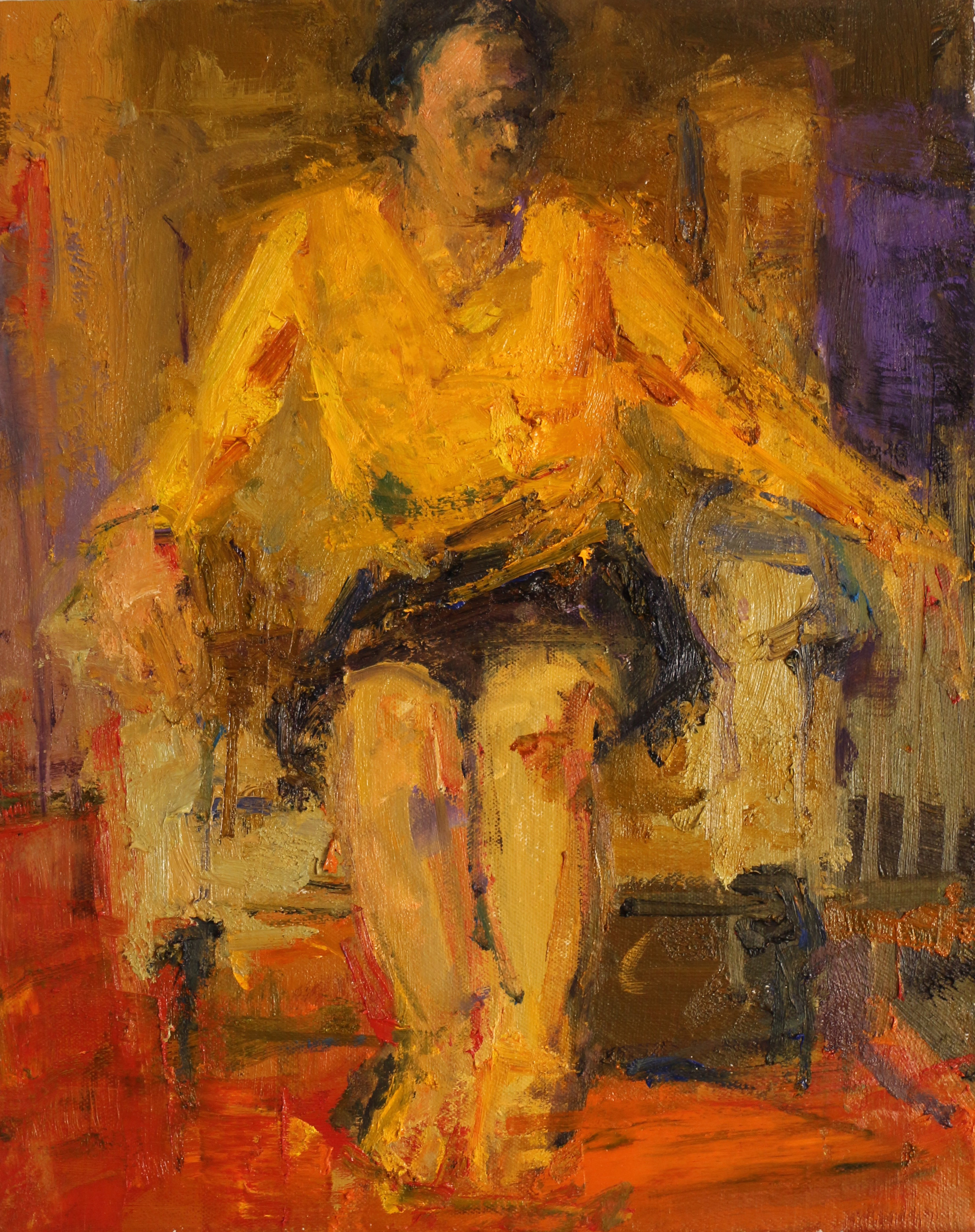 Woman in Yellow Top - Oil on Linen 50 x 40 cm