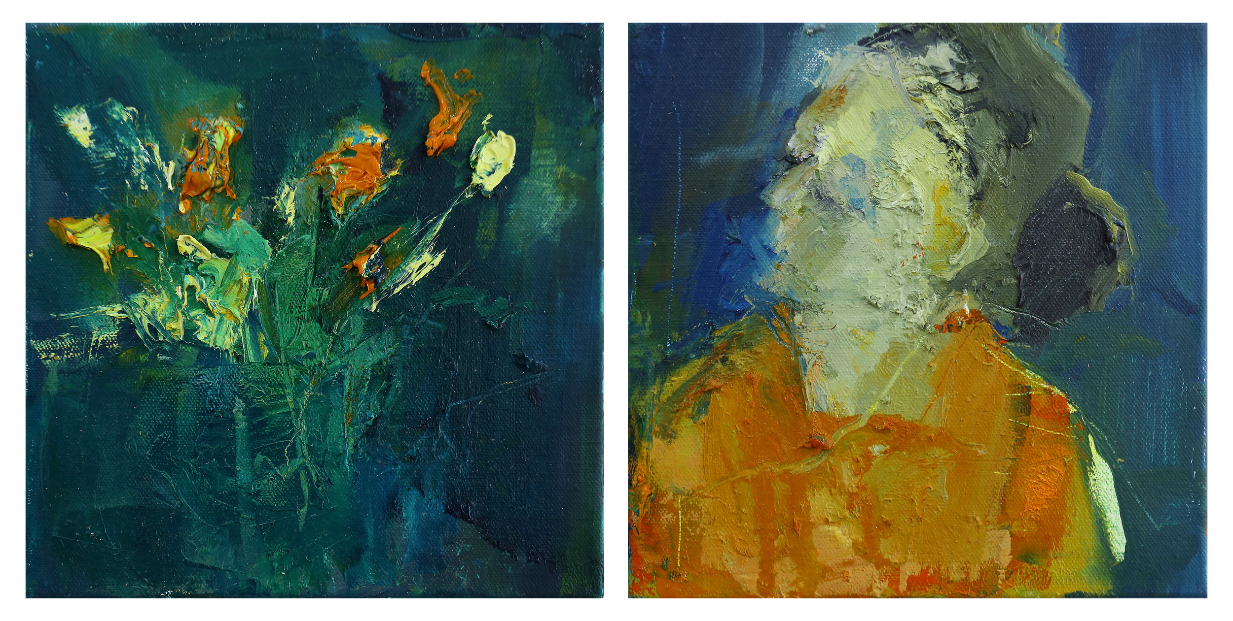 In Bloom My Heart - Oil on Linen (Diptych) 30 x 60 cm