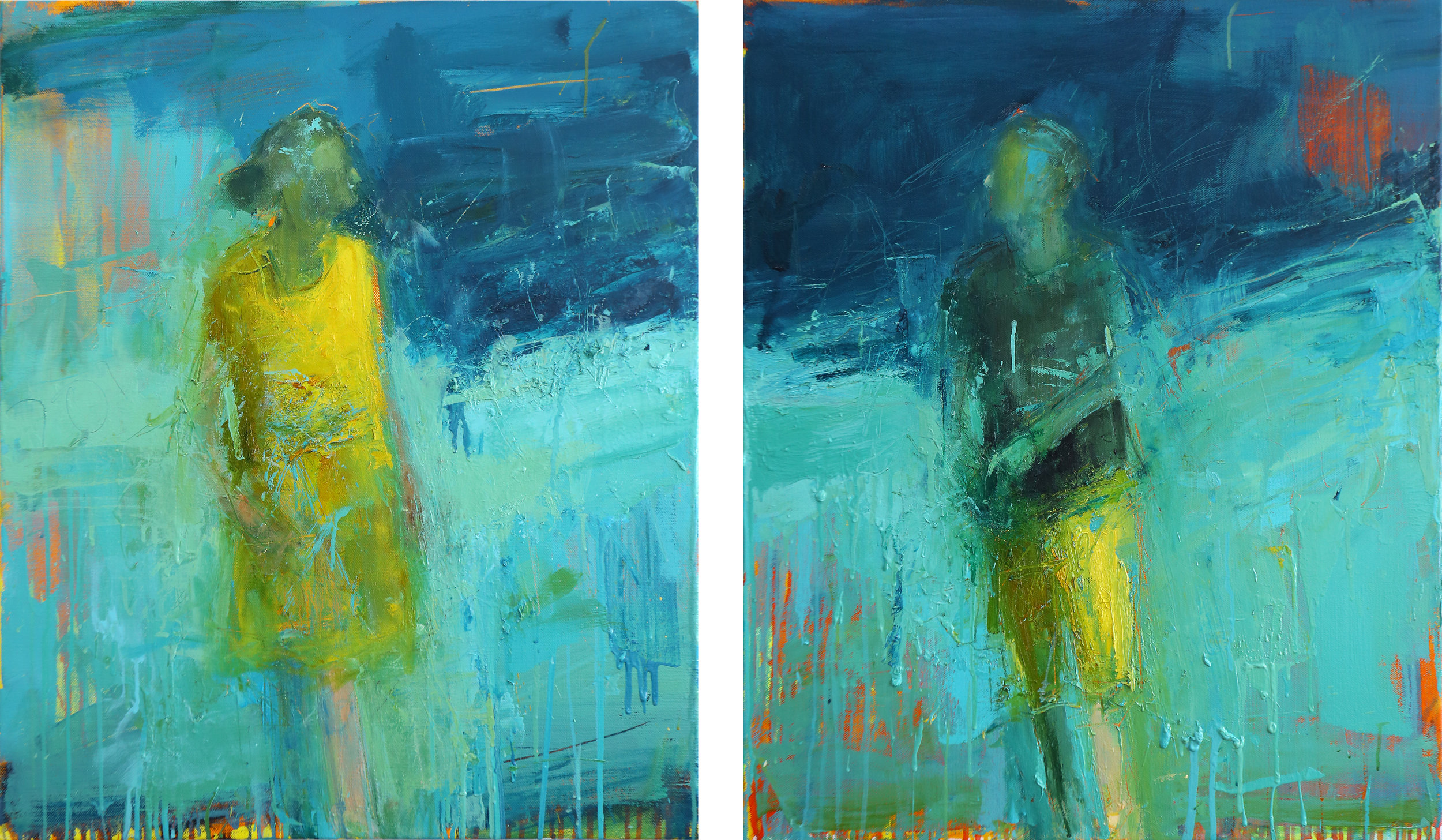 Your Heart To Mine - Eve and Adam - Oil on Linen (Diptych) 80 x 130 cm