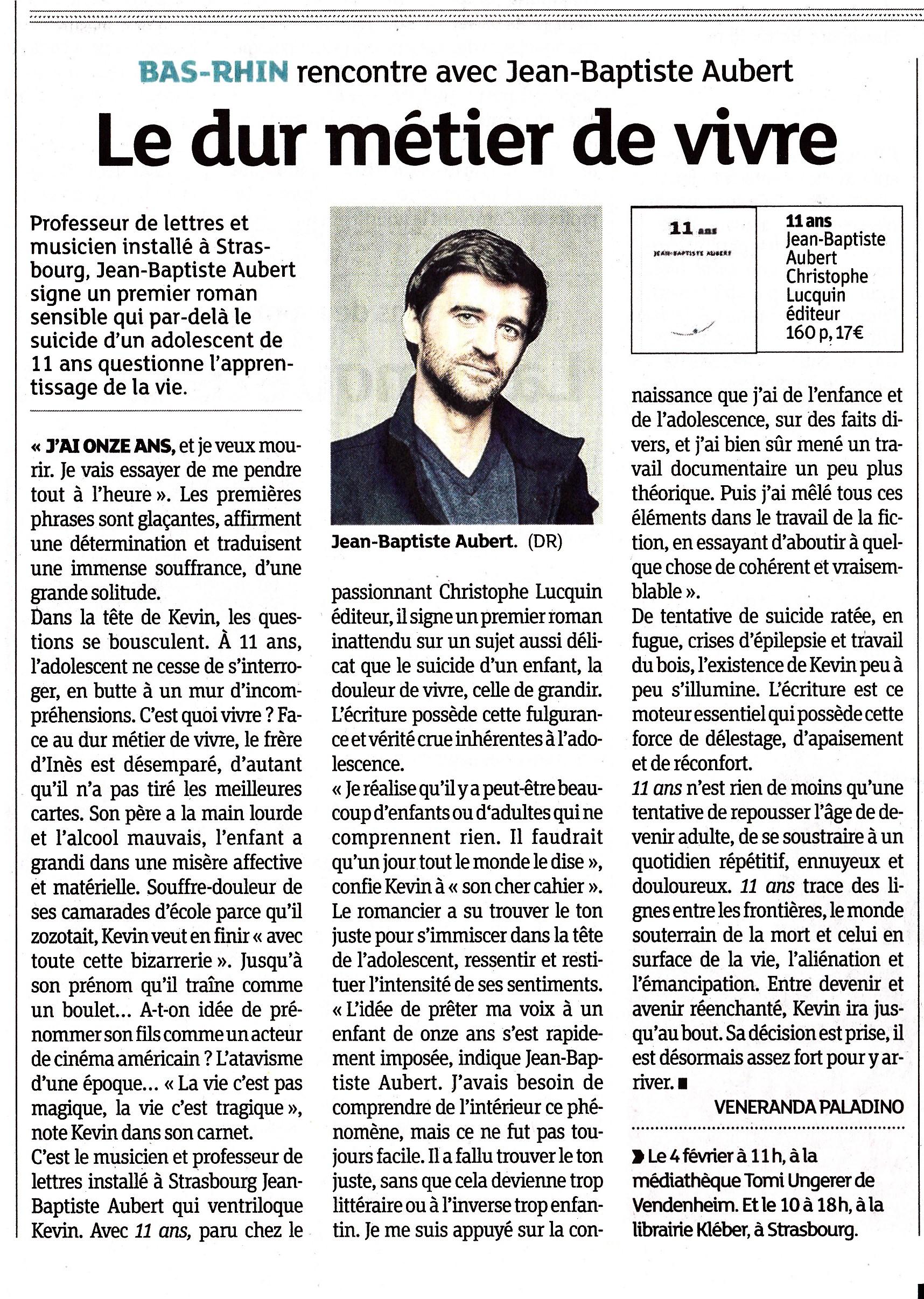 Les Dernières Nouvelles d'Alsace, édition du 4 février 2017.