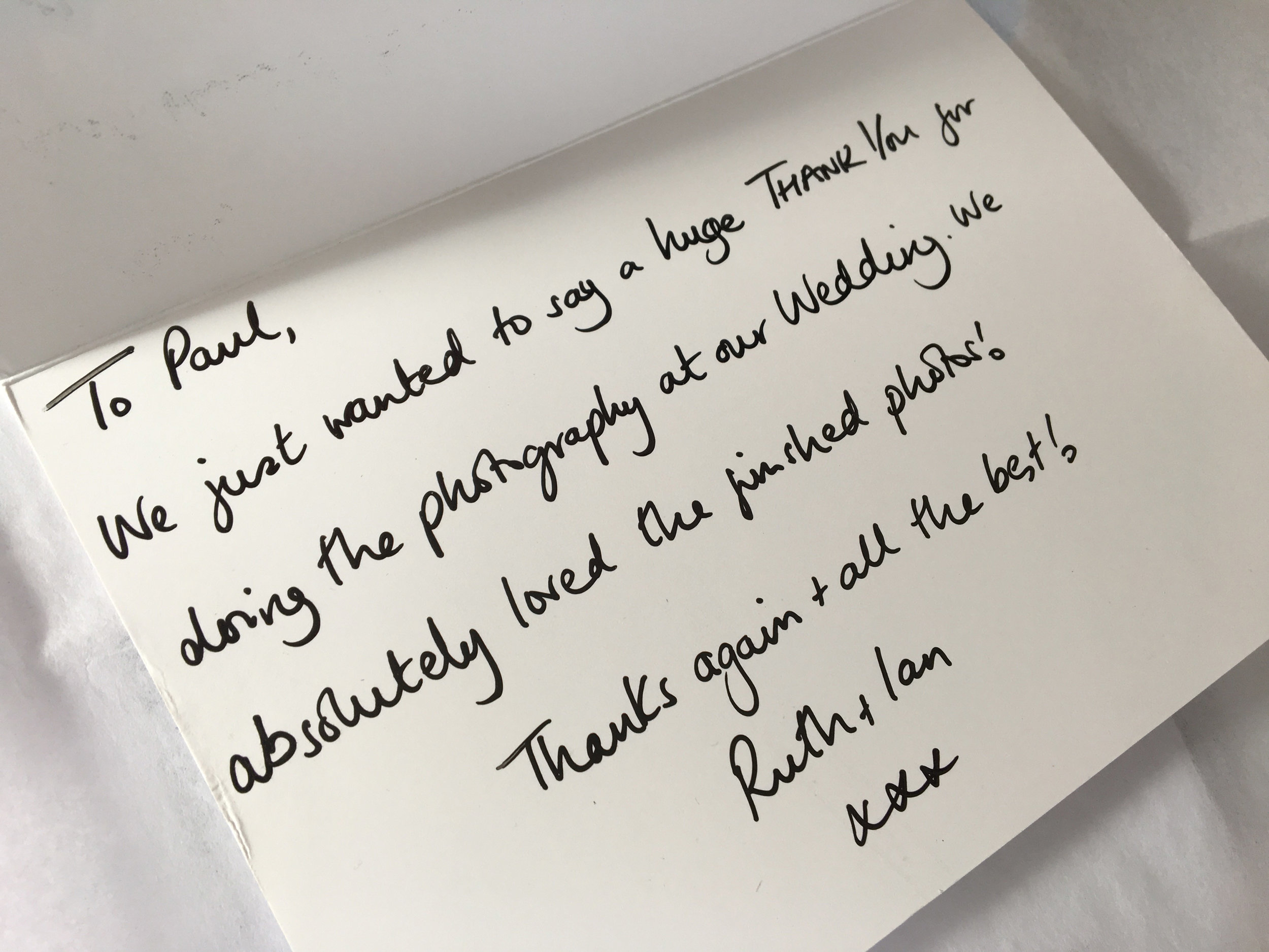 A thank you from one of my happy wedding couples