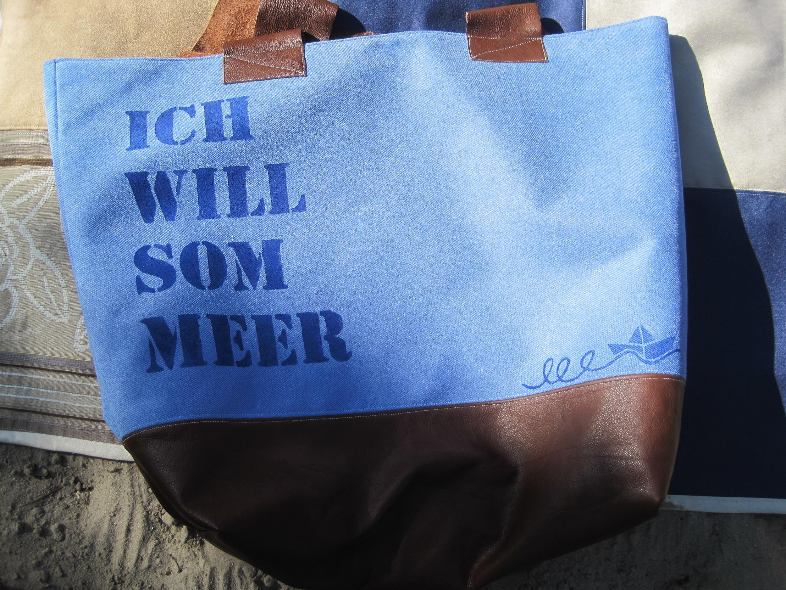 Strandtasche mit Ledereinsatz, 49,-€