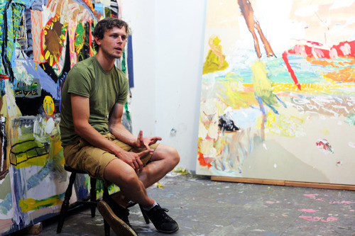 Daniel Herr in the studio with   PB in NY   (2014) in process behind him