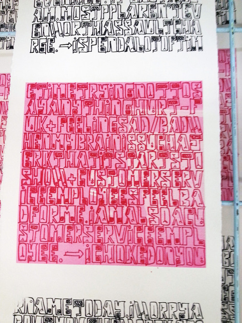 Silkscreened page from Whess' project at Banff